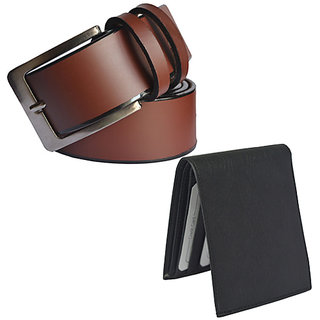 Sunshopping mens mix of Leatherite brown needle pin point buckle belt with black bifold synthetic Leatherite wallet.(combo)