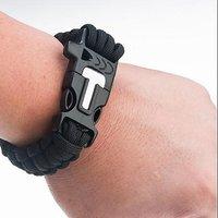 4 in 1 Rope Bracelet Flint Fire Starter Whistle Cutting Knife Paracord Gear BLACK
