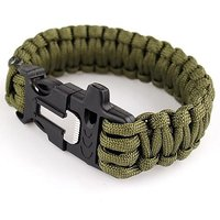 4 in 1 Rope Bracelet Flint Fire Starter Whistle Cutting Knife Paracord Gear ARMY GREEN COLOR