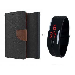 Mercury Goospery Wallet Flip Cover For  Micromax A106 Unite 2 (BROWN) With Digital Watch
