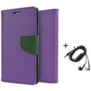 Mercury Goospery Wallet Flip Cover For Micromax Canvas Play Q355 (PURPLE) With Tarang Earphone