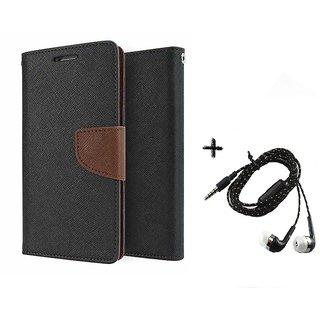 Mercury Goospery Wallet Flip Cover For HTC One M9 (BROWN) With Tarang Earphone