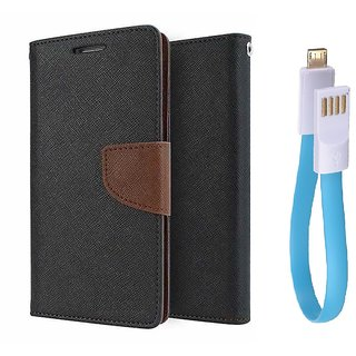 Mercury Goospery Wallet Flip Cover For Reliance Lyf Wind 1 (BROWN) With Magnet usb cable