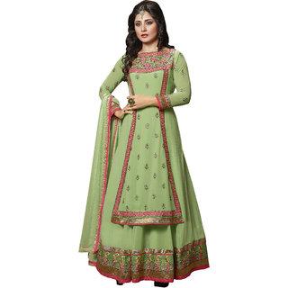 Shoponbit Designer Embroiered Sea Green Color Semi-stitched Anarkali Suit