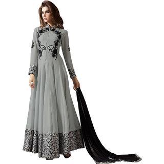Shoponbit Designer Grey Color Heavy Embroidered Anarkali Suit