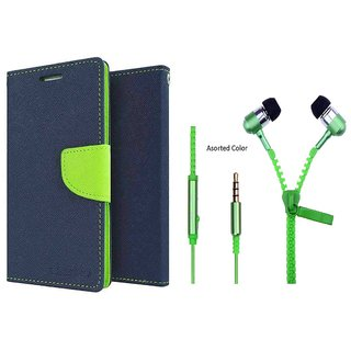Micromax Canvas Spark Q380 Mercury Wallet Flip Cover Case (BLUE) With Zipper Earphone