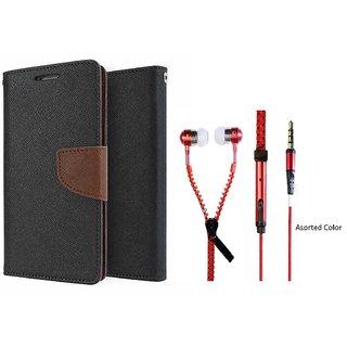 Samsung Galaxy E7 Mercury Wallet Flip Cover Case (BROWN) With Zipper Earphone