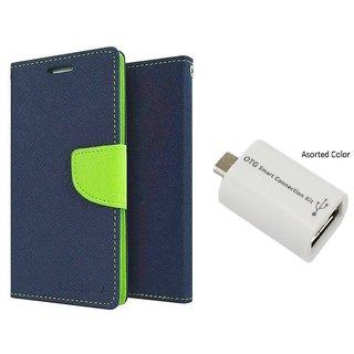 Samsung Galaxy Grand I9082 Mercury Wallet Flip Cover Case (BLUE) With Otg Smart
