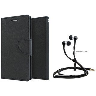 Micromax Canvas HD A116 Mercury Wallet Flip Cover Case (BLACK) With Zipper Earphone