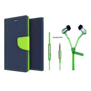 LG G3 Mercury Wallet Flip Cover Case (BLUE) With Zipper Earphone