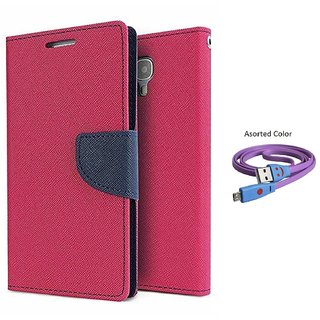 Micromax Yu Yuphoria AQ5010 Mercury Wallet Flip Cover Case (PINK) With Smiley usb data Cable