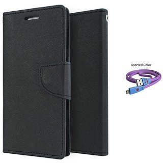 HTC One M9 Mercury Wallet Flip Cover Case (BLACK) With Smiley usb data Cable