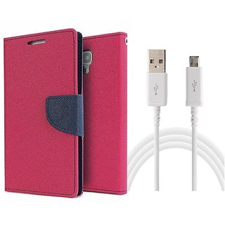 Microsoft Lumia 730 Mercury Wallet Flip Cover Case (PINK) With Usb data Cable