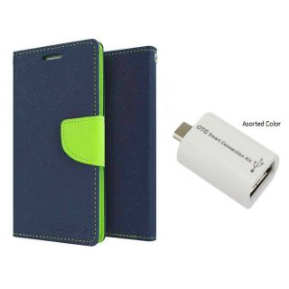 Micromax Canvas Elanza 2 A121 Mercury Wallet Flip Cover Case (BLUE) With Otg Smart
