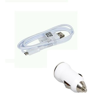 Combo of Bullet Car Charger and Micro USB Data Sync and Charging Cable forTATA INDICA EV2 DLX BSIII (White)
