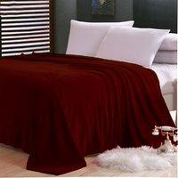 Sparkk Home Maroon Polyester Single Bed Fleece Blanket