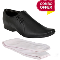 Groofer Mens Black Slip On Formal Shoes With Socks