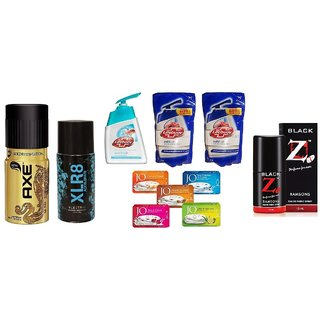 Cracker Combo - Axe + XLR8 + Lifebuoy Handwash + 2 Lifebuoy Refill Pack + 5 JO Soaps + Hot Collection Black Z Perfume