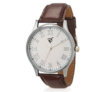 Rico Sordi Round Dial Brown Leather Strap Mens Watch