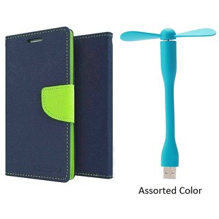 Moto E Mercury Wallet Flip Cover Case (BLUE) With Usb Fan