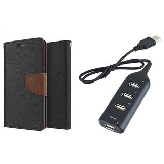 HTC Desire 620 Mercury Wallet Flip Cover Case (BROWN) With Usb hub