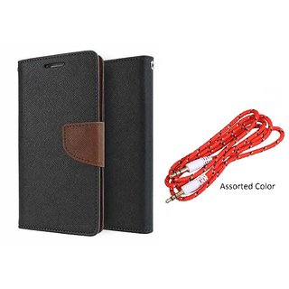 Reliance Lyf Water 2 Mercury Wallet Flip Cover Case (BROWN) With 3.5mm Male To Male Aux Cable