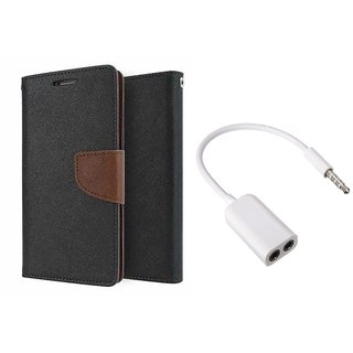 MICROMAX A106  Mercury Wallet Flip Cover Case (BROWN) With 3.5mm Jack Splitter