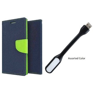 Asus Zenfone C Mercury Wallet Flip Cover Case (BLUE) With Usb Light