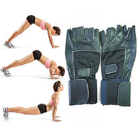 Pair Of Gym GLoves Along With Wrist Support. Finger Cut Gym Gloves