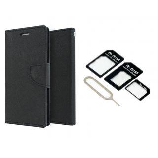 LG G3 Mercury Wallet Flip Cover Case (BLACK) With Nossy Nano Sim Adapter