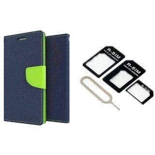 Samsung Galaxy J1 Ace Mercury Wallet Flip Cover Case (BLUE) With Nossy Nano Sim Adapter