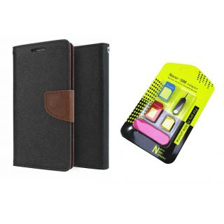 LG G4 Mercury Wallet Flip Cover Case (BROWN) With Nano Sim Adapter