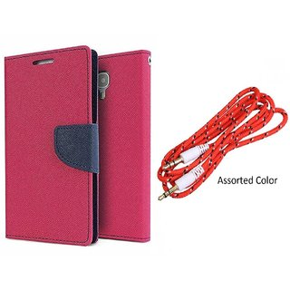 Micromax Canvas Nitro A310 Mercury Wallet Flip Cover Case (PINK) With 3.5mm Male To Male Aux Cable