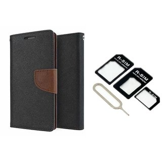 Reliance Lyf Wind 6 Mercury Wallet Flip Cover Case (BROWN) With Nossy Nano Sim Adapter