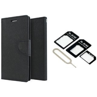 Micromax Canvas Pep Q371 Mercury Wallet Flip Cover Case (BLACK) With Nossy Nano Sim Adapter