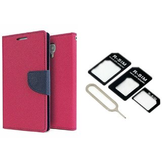 Microsoft Lumia 640 XL Mercury Wallet Flip Cover Case (PINK) With Nossy Nano Sim Adapter