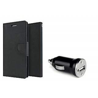 Motorola Moto E Mercury Wallet Flip Cover Case (BLACK)  With CAR CHARGER ADAPTER