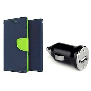 REDMI NOTE 3 Mercury Wallet Flip Cover Case (BLUE)  With CAR CHARGER ADAPTER