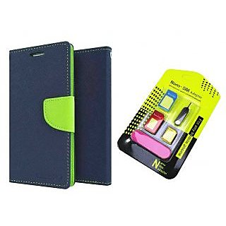LENOVO P1  Mercury Wallet Flip Cover Case (BLUE) With Nano Sim Adapter