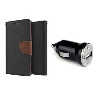 Micromax Canvas Spark 2 Q334 Mercury Wallet Flip Cover Case (BROWN)  With CAR CHARGER ADAPTER