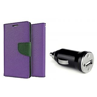 Samsung Galaxy Alpha G850F Mercury Wallet Flip Cover Case (PURPLE)  With CAR CHARGER ADAPTER