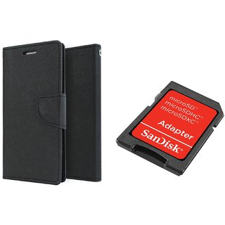 redminote 2 Mercury Wallet Flip Cover Case (BLACK) With Sandisk SD CARD ADAPTER