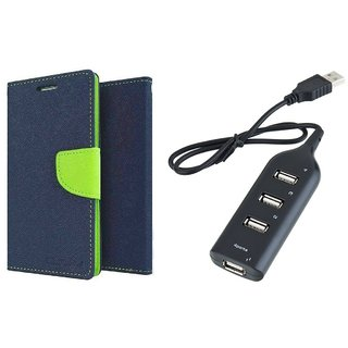 NOKIA 535  Mercury Wallet Flip Cover Case (BLUE) With Usb hub