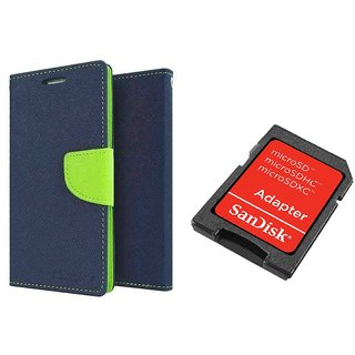 Samsung Galaxy Grand I9082 Mercury Wallet Flip Cover Case (BLUE) With Sandisk SD CARD ADAPTER