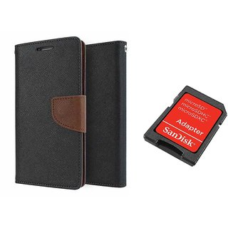 Reliance Lyf Earth 1 Mercury Wallet Flip Cover Case (BROWN) With Sandisk SD CARD ADAPTER