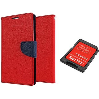 Samsung Galaxy J7(2016) Mercury Wallet Flip Cover Case (RED) With Sandisk SD CARD ADAPTER