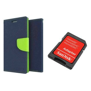 Micromax Bolt Q331 Mercury Wallet Flip Cover Case (BLUE) With Sandisk SD CARD ADAPTER