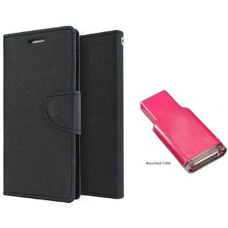 HTC 816  Mercury Wallet Flip Cover Case (BLACK)  With MEMORY CARD READER