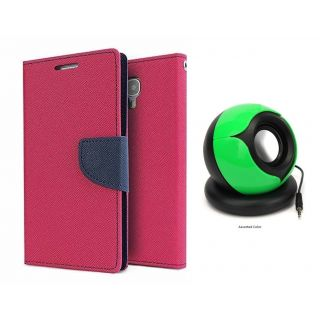 Micromax Bolt Q333 Mercury Wallet Flip Cover Case (PINK) With Pc/mobile SPEAKER
