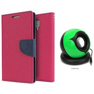 MICROMAX Q338  Mercury Wallet Flip Cover Case (PINK) With Pc/mobile SPEAKER